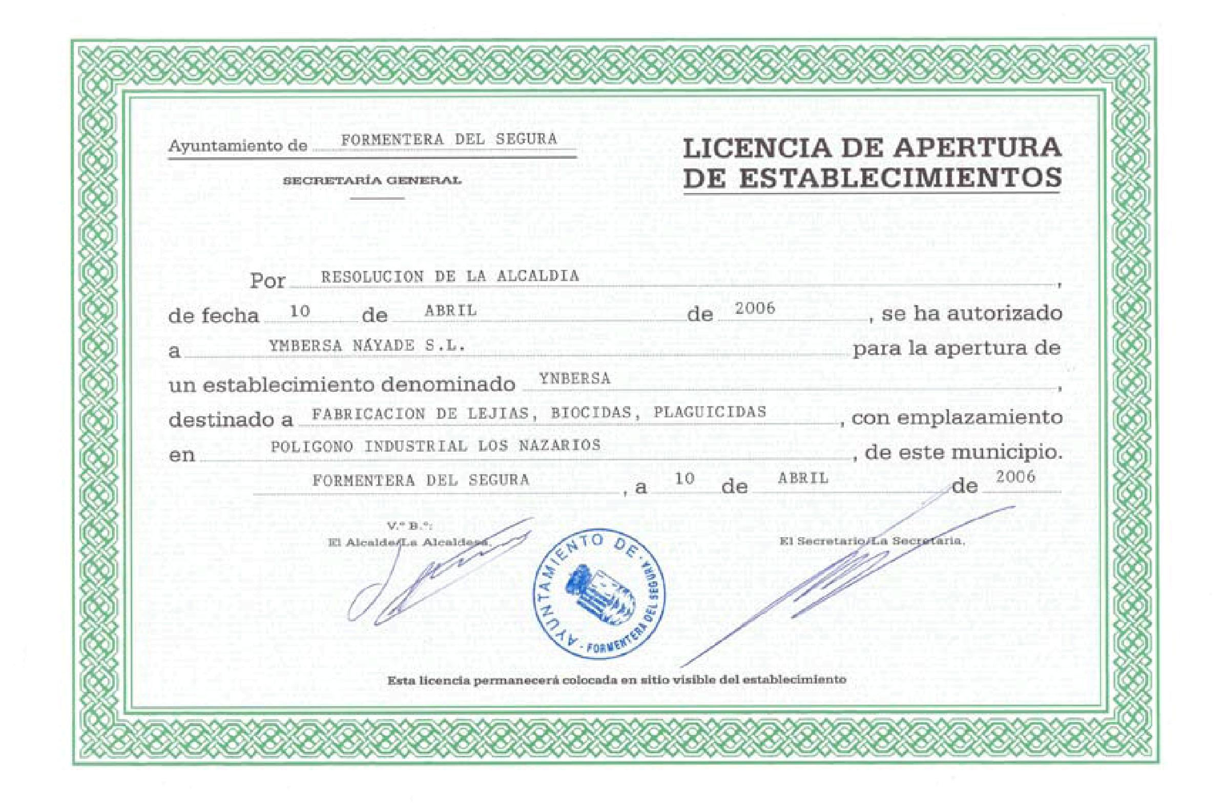 licencia de actividad